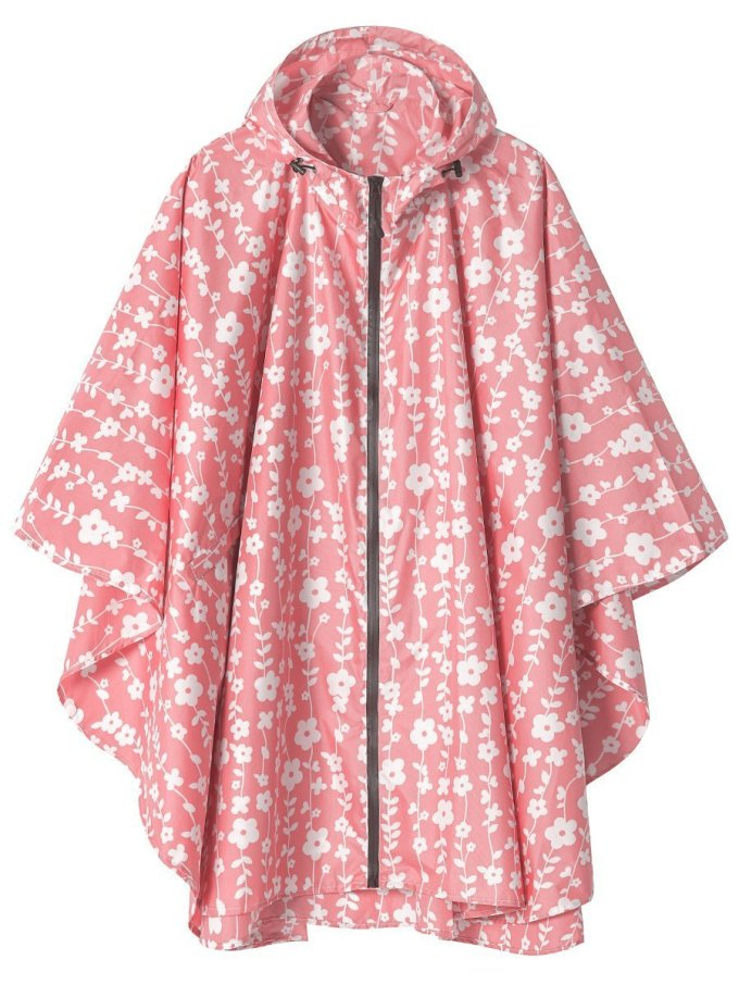 Fashionable rain coat with floral details